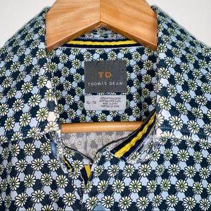 Thomas Dean Blue Floral S/S Button Down Stripe